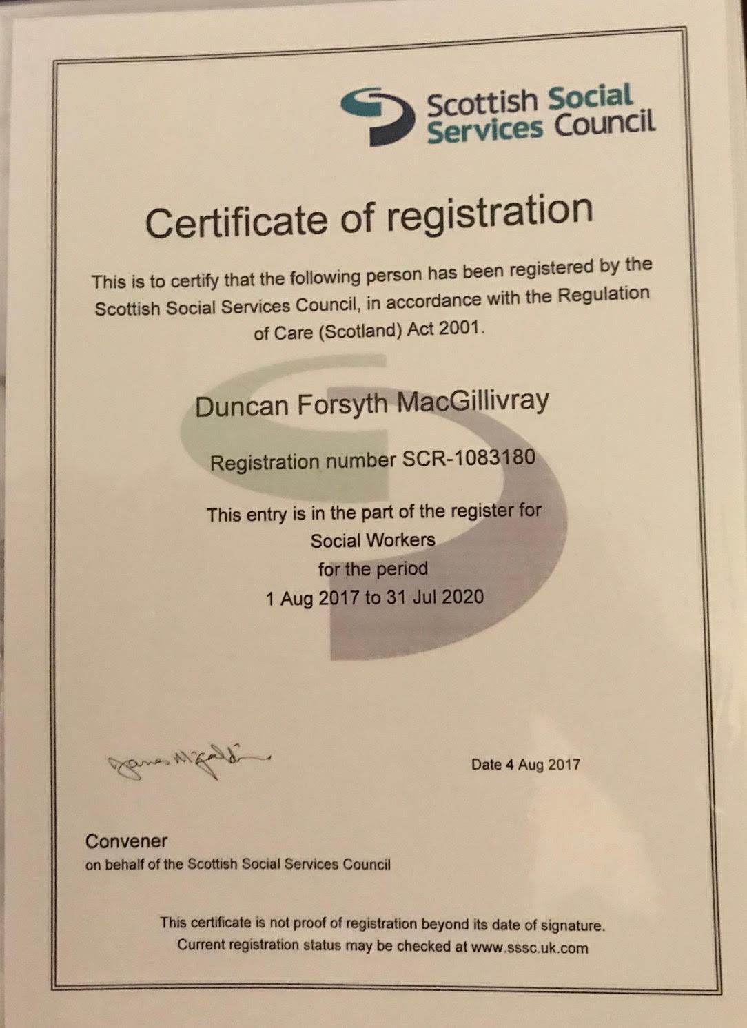 SSSC Registration